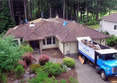 Repair with dump truck drone